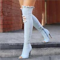 Sexy mujeres de las botas altas del muslo Botas sobre la rodilla de alta Botas Peep Toe Heels agujero azul cremallera Denim Jeans Zapatos Botas Mujer