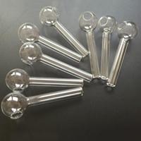 Bruciatore di olio di vetro trasparente Pyrex Pyrex spessore 10cm 4in tubo colorato cera bruciante fumo di tubi dell'acqua