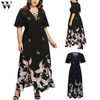 Womail dress moda feminina sexy com decote em v de manga curta impressão floral party dress plus size 5xl cocktail balanço 2019 m521