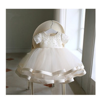 Bambina perline vestiti neonato 1 ° compleanno vestito a strati tulle arco piccola ragazza vestito da partito infantile battesimo battesimo abito