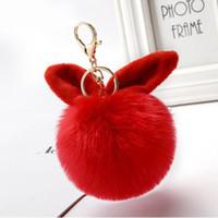 Topu Dekorasyon Yaratıcı Cep Telefonu Çanta Süsleme Araba Anahtarlık Hediye Düğün Souvenir ile 15pcs / Lot Sevimli Anahtarlıklar Tavşan Kulak kolye