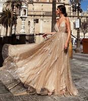 저렴한 깊은 V 목 Sequined Prom Dresses Tulle Backless Robe de Soiree New Spaghetti 스트랩 긴 파티 가운 Abendkleider 이브닝 드레스