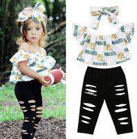 2019 Moda 3 adet Mektup Baskı Bebek Çocuk Kız Giysileri Set Kapalı Omuz Tops + Ripped Denim Pantolon + Kafa kıyafetler