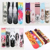 Encantador 3d calcetines de impresión patrón gato chips de caramelo donut calcetines muchos diseño doble cara calcetines de impresión longitud 42 cm dibujos animados SOX