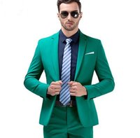 2019 Hot Sale Green Mens Suits Notched Lapel Wedding Suits F...
