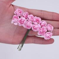 144pcs multicolor 1,5 cm de papel hecho a mano Rose flores artificiales para la boda decoración del hogar bricolaje caja de Scrapbooking Garland Flores