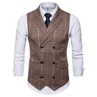 2020 Nouveau Spring Amazon Spring Automne Vente Chaude Homme Gardie Vest Plaid Casual à double boutonnage Gilets occasionnels Hommes Plaid costume Vest G001