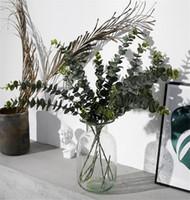 Plantas artificiales Plástico suave Eucalyptus Green Plantas Sucursal Decoración para el hogar Fallo de hojas Decoración de boda Simulación Bonsai DA262