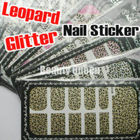 16 Mixed Designs Nail Decal Leopard Glitter Nail Art Wrap Wraps Strips Sticker Foils Tips Decal Decoration Adhesive Applique