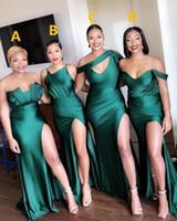Sexy Turquoise Green Side Dividir Vestidos baratos da dama de honra longo da madrinha de casamento vestido sereia cetim de seda formal Prom Vestidos Vestido Africano
