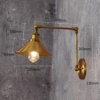 110V / 220V estilo loft Vintage E27WALL SCONCE Brazo de swing Lámpara de noche Lámpara de noche moderna Lámpara de pared de bronce chapado en bronce