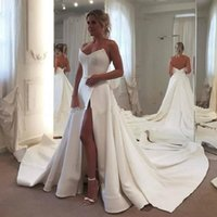 High Side Split Sexy Satin A Line Wedding Bridal Dresses Chi...