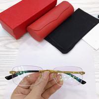Tam set ambalaj ile reçeteli gözlük için erkekler için LÜKS tasarlanan CT0039SA çerçevesiz gözlük 54-18-145 dikdörtgen mercek saf titanyum jant