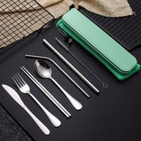 Set da viaggio in acciaio inox posate Set posate per picnic esterno Dinnerware Set di paglia del metallo con il sacchetto di sicurezza utensile da cucina 8pcs sacco FFA3256 /