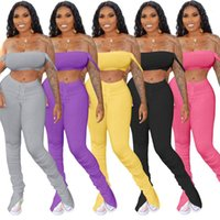 Assortiments Casual Survêtements Natural Color Mode Pantalons femmes Long Crop Top Two Piece Tenues Pants Stacked