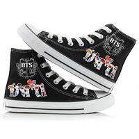 7febdd2eb7 Kpop Unisexe BTS Bangtan Garçons Haute Toile Chaussures Sneakers Chaussures  Casual Impression Loisirs   332418