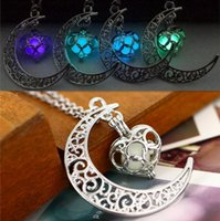 Fashion shine Moon Luminous Stone necklaces Glow In The Dark Essentials Oil Diffuser pendants necklace For women Ladies Girls Jewelry Gifts