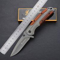 Browning DA43 Pieghevole Coltello Pieghevole 3Cr13 Blade Blade Maniglia in palissandro Titanio Tactical Coltello tascabile Pocket Tool Veloce Open Hunting Knife Strumento di sopravvivenza