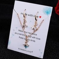 Mode Geometrische Liebes-Herz-Eulen-Sets Halskette baumeln Kristall Strass Eardrop der Frauen-Dame Designer Schmuck Statement Geschenke