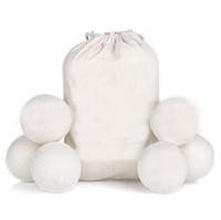 6PCS / LOT الصوف مجفف كرات قسط قابلة لإعادة الاستخدام النسيج الطبيعي المنقي 2.75inch ثابت يقلل يساعد على تجفيف الملابس في الغسيل أسرع