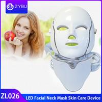 Masque facial de cou de la machine LED de beauté de visage de thérapie de lumière de PDT 7 LED avec Microcurrent pour le dispositif de blanchiment de la peau
