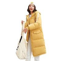 Женская траншея пальто вниз Parka зима 2021 хлопчатобумажная одежда с длинной крышкой Pure Color тепло и толще 1921