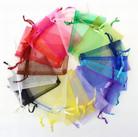 100pcs/lot Organza Jewelry Bags Wedding Party favor Xmas Gift packing Bags Purple Blue Pink Yellow Black Drawstring Pouch 21 colors