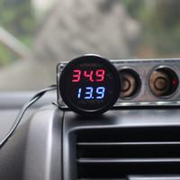 2 Em 1 DC 12 V 24 V Digital Voltímetro Do Carro Termômetro Monitor de Temperatura Medidor de Monitor de Bateria Azul Vermelho Levou Exibição Dupla Frete Grátis
