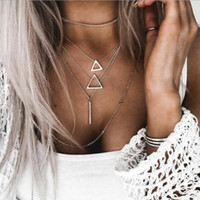 endant Necklaces 2019 Summer New Vintage Multilayers Triangl...
