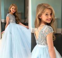 Lovely Girls desfile de vestidos de cuello de la joya de tul perlas cristales lindo del florista vestidos de fiesta de cumpleaños del niño de boda Lovely Girl vestido para el vestido