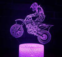 3D Illusion Night Light Motocicleta Gadget 7 Cor Mudança de Toque Toque Usb Alimentado LED Decoração Lâmpada De Mesa Para Feriado Aniversário De Presente Cool