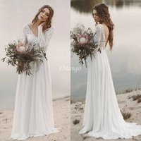 Lace Beach Wedding Dresses Long Sleeves Backless V- Neck Ills...