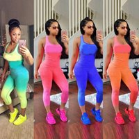 6 Styles Pink WomenTracksuits Letter Outfit Sleeveless Tight...