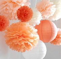 50 PCS MOQ Coloré Suspendu POM POMS KIT Papier Boule En Forme De Fleur pour Mariage, Anniversaire, Baby Shower, Décor De Crèche, Fleur De Tissu