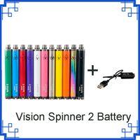 Vision Spinner 2 Batteri Hög 1650mAh VV Justerbar spänning 3.3 ~ 4.8V för 510 trådförångare cigaretter EGO Atomizer vs Backwoods