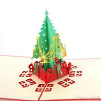 Rote Weihnachtsgrußkarten 3D Handmade Pop Up Grußkarten Geschenk-Karten-Weihnachtsgeschenk-Papier-Geschenk-Karten-Partei-Feiertags-Einladung HH9-2511