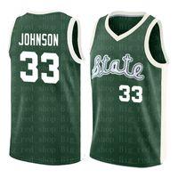 33 Earvin 존슨 미시간 주립 저지 저렴한 매직 존슨 그린 화이트 대학 저지 스티치 레트로 고등학교 농구 저지