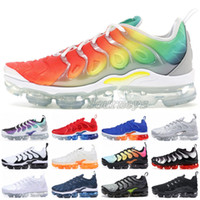 2019 TN Plus Rainbow Men Running Shoes Ultra White Triple Bl...