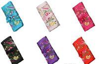 mélanger les couleurs Floral FOLK 3 Zipper Soie Multifonctionnel Bijoux Cadeau sacs Pochettes Sac Anneau Bar Soie Broderie Voyage Rouleau Sac