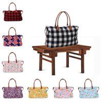 Mulheres da manta Leopard Duffel Travel Bag Tote Buffalo Verifique Bolsa dobro segura Sports Grande Bag Ladies Outdoor Sarah Weekenders Bag A42201