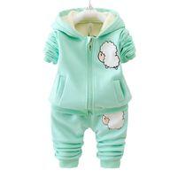 Otoño invierno niños niños niñas ropa de moda establece bebé de dibujos animados chaqueta con capucha pantalones 2 unids / set infantil añadir algodón chándales J190712