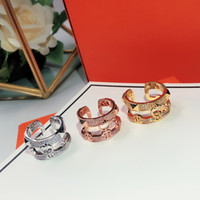 Hot sale Classic For Women Round Simple Jewelry Double-deck Open type Ring Set France Quality Golden Rose Gold Superior quality H Rings