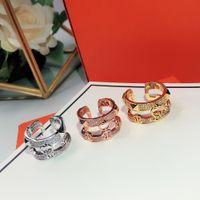 هوت بيع كلاسيكي لنساء جولة مجوهرات بسيطة ذات طابقين مفتوحة حلقة فرنسية من النوع الذهبي الورد الذهبي جودة الخواتم H