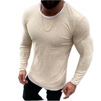 Männer Casual Slim Fit Pullover Strickpulli 2019 Herbst-Winter-warmer Double-Layer-O-Ausschnitt Pullover Solid Crew Neck Sweater Top