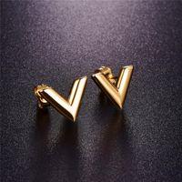 Martick 316L roestvrijstalen oorbellen voor vrouwen rose goud-kleur merk V brief driehoek schattige oorbellen sieraden cadeau E157