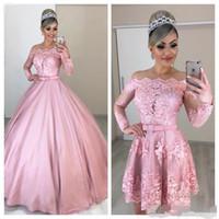 Rosa vestidos de quinceañera desmontable tren elegante del hombro escote festoneado largo ilusión mangas de raso vestido de bola del dulce 16 de la princesa