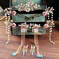 Pahalı Çin Gelin Headdress İnciler Püskül Tokalar Düğün Saç takı Zarif Çiçek Coronet Saç pimleri Tarak Gelin Takı seti
