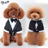 Köpek Pet İş Suit için Köpek Pet Köpek Giyim Smokin Bow Tie Gömlek Takım Elbise Şık Düğün Giyim Kıyafet Sıcak Yeni Soğuk Giyim