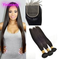 Peruvian Human Hair Bundles With Closure 5X5 Lace Closure Wi...