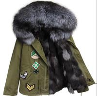 Yeni varış gümüş tilki kürk trim maomaokong marka gümüş tilki kürk astar mini ordu yeşil tuval ceketler ile Aplikler